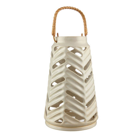 Croft Carved Stoneware Lantern White