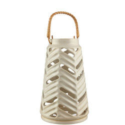 Croft Carved Stoneware Lantern White