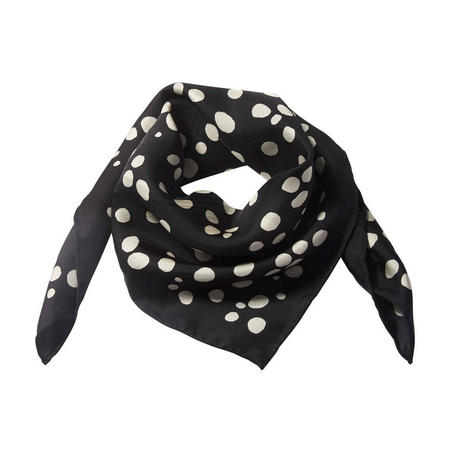 Dots Square Silk Scarf Black