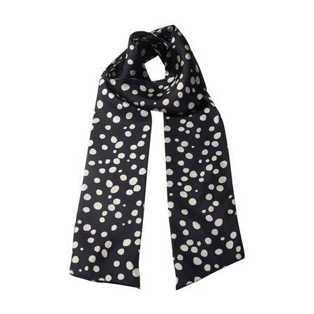 Dots Long Silk Scarf Black
