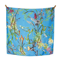 Asian Garden Silk Scarf Blue