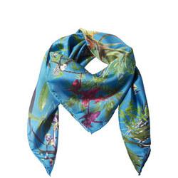 Asian Garden Silk Scarf Blue