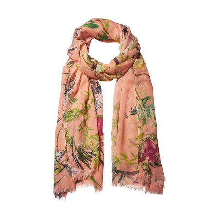Asian Garden Cotton Blend Scarf Orange
