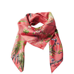 Asian Garden Silk Scarf Red