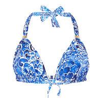 Playa Floral Print Bikini Top Blue
