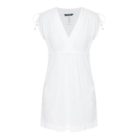 Crushed Cotton Cover-Up Dress White