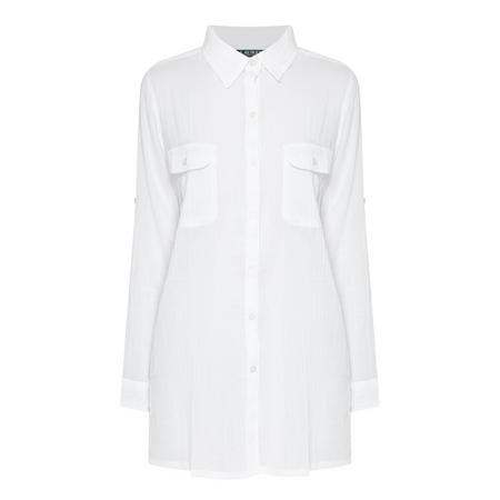 Crushed Cotton Cover-Up Shirt White