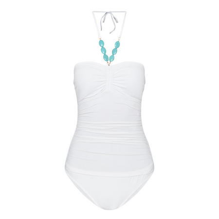 Beaded Swim Suit White