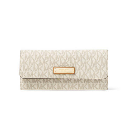 Signature Logo Print Flat Wallet Cream