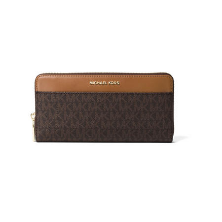 Logo Print Continental Wallet Brown