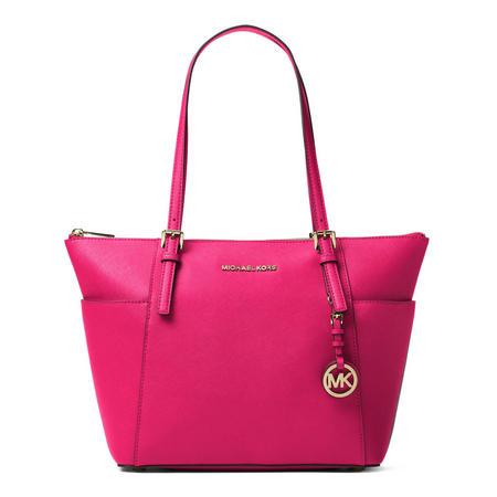 Jet Set Saffiano Leather Top Zip Tote Bag  Pink