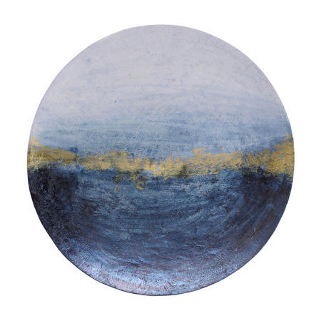 Blue And Gold Abstract Iron Wall Disc Large