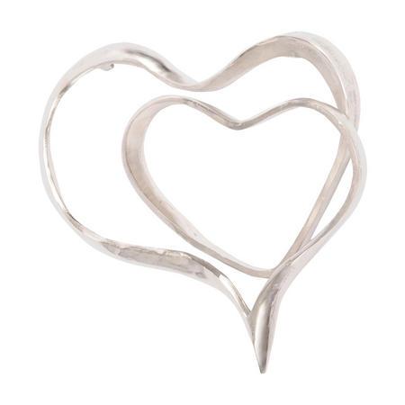 Silver Abstract Heart Wall Sculpture