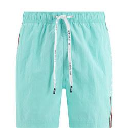 Side Logo Print Swim Shorts Blue