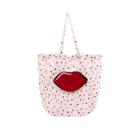 Confetti Lip Foldaway Shopper Bag Multicolour