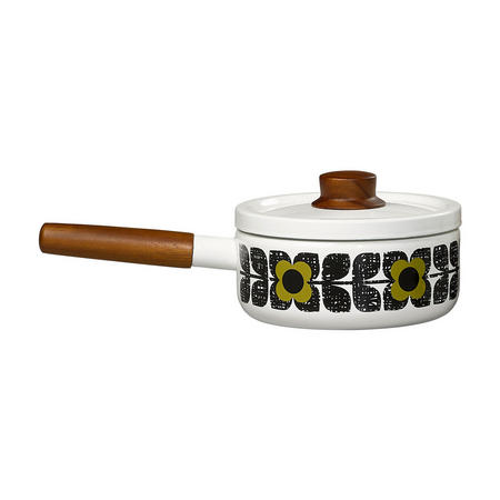 Enamel Saucepan Textured Square Flower Olive