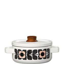 Enamel Casserole Pot Scribble Square Flower