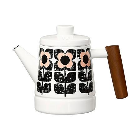 Enamel Teapot Textured Square Flower Pink