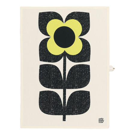 Teatowel S2 Textured Square Flower Yellow