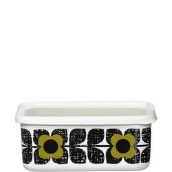 Enamel Storage Container Flower Olive