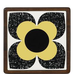 Ceramic and Wood Trivet Scribble Square Flower Primrose