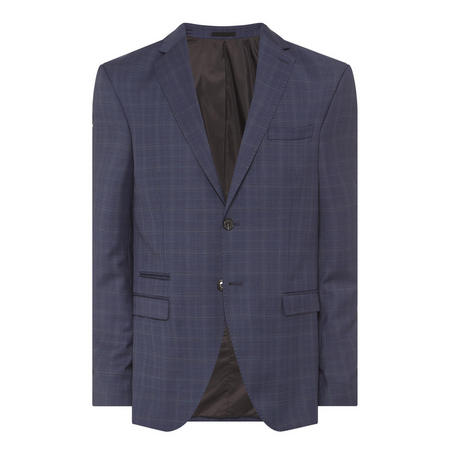 Buffalo Check Print Suit Jacket Blue