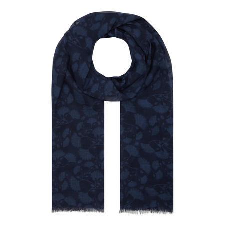 Ginkgo Stole Print Scarf Blue