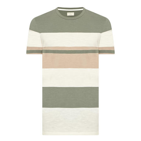 Crew Neck Stripe T-Shirt Green