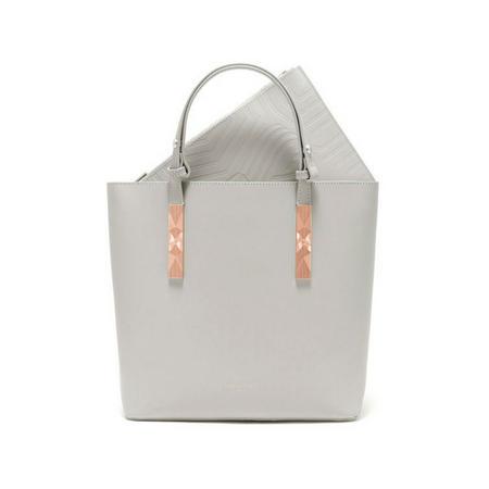 Jaceyy Embossed Detail Shopper Bag Grey