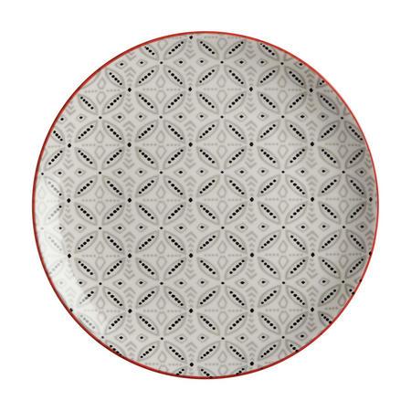 Boho Plate Batik 27Cm  Grey
