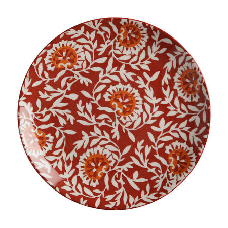 Boho Plate Damask  20Cm Red