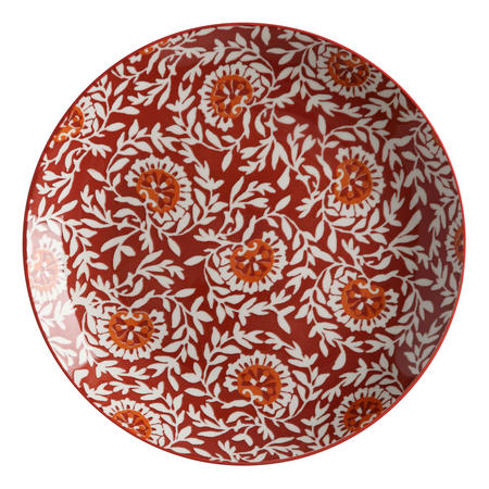 Boho  Plate Damask 27Cm Red