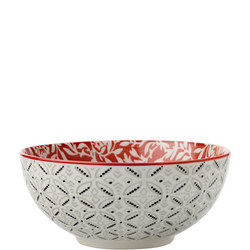 Boho Bowl Damask 18Cm Red