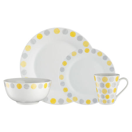 P&K Geo Circles 16 Piece Dinner Set Yellow