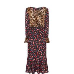 Multi-Pattern Midi Dress