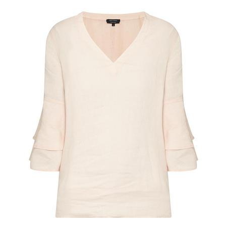 Flared Linen Top Blush pink