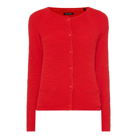Textured Button-Up Cardigan Red