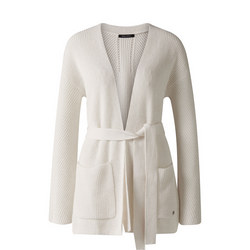 Open Front Ribbed Cardigan White