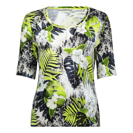Floral Half Sleeve T-Shirt Green