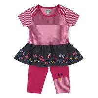 Flamingo Dress And Leggings Set Pink