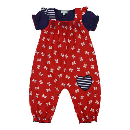 Butterfly Dungaree Set Red
