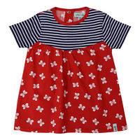 Butterfly Stripe Dress And Leggings Set Red