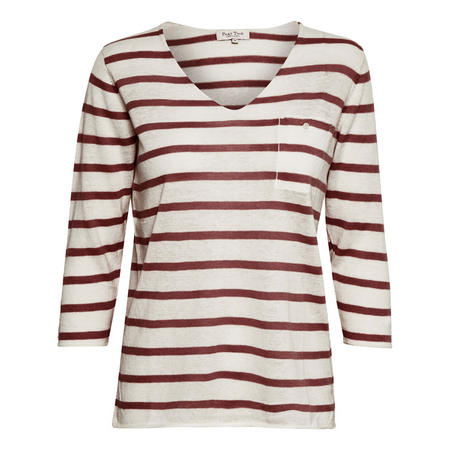 Dosta Stripe V-Neck Top Red