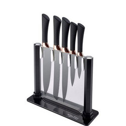 Black/Copper Six Piece Knife Block