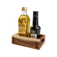 Rustic Acacia Oil & Vinegar Crate