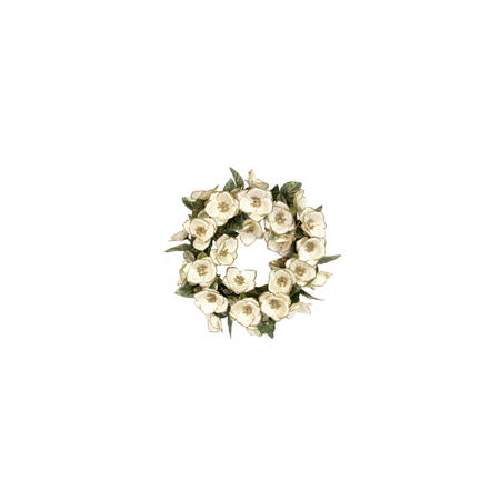 Green Fabric Christmas Rose Candle Ring