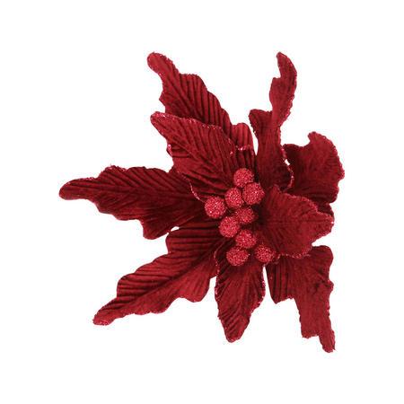 Velvet Poinsettia Clip Large