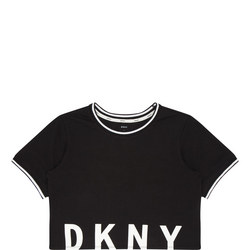 Cropped Logo Print Pyjama T-Shirt