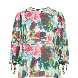 Abstract Print Tie Sleeve Top