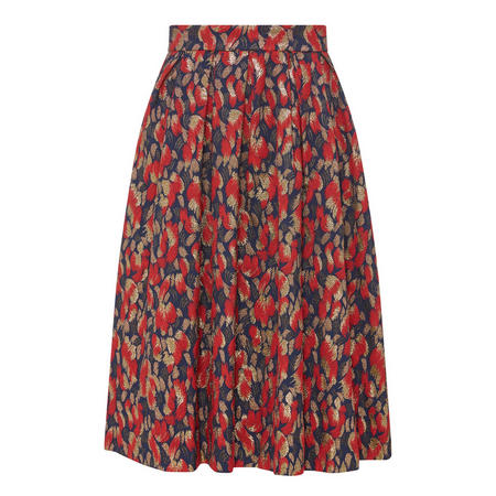 Printed Pleat Midi Skirt